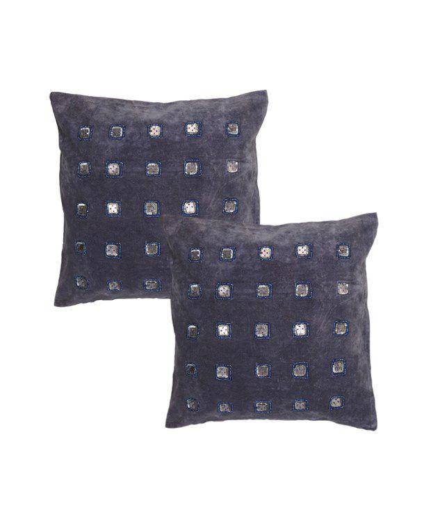Rajrang Velvet Designer Cushion Covers - (16 X 16 Inches) (Set of 2 Pcs)