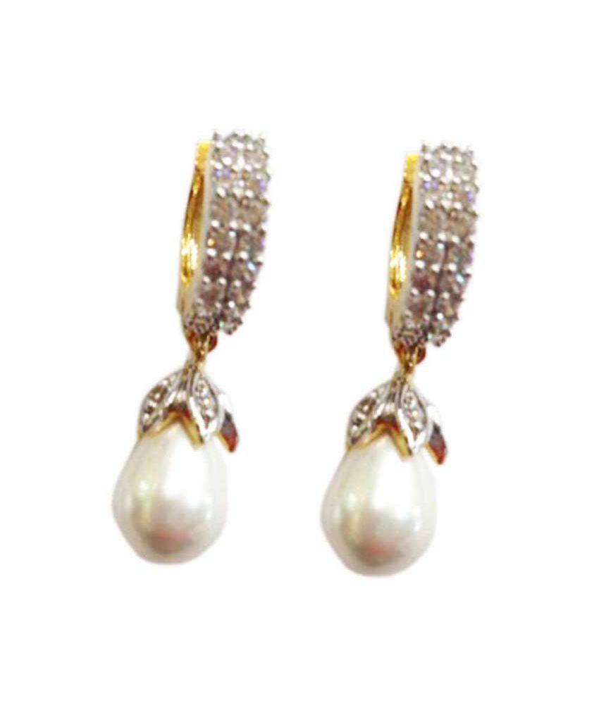 Sheetal Jewellery Floral Gold Wedding & Engagement Hoop Earrings