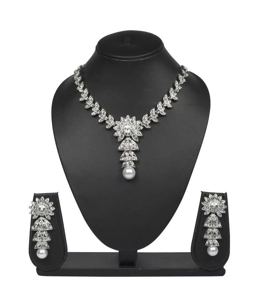 Vk Jewels Pearl Drop Necklace Set - Combo Of 2