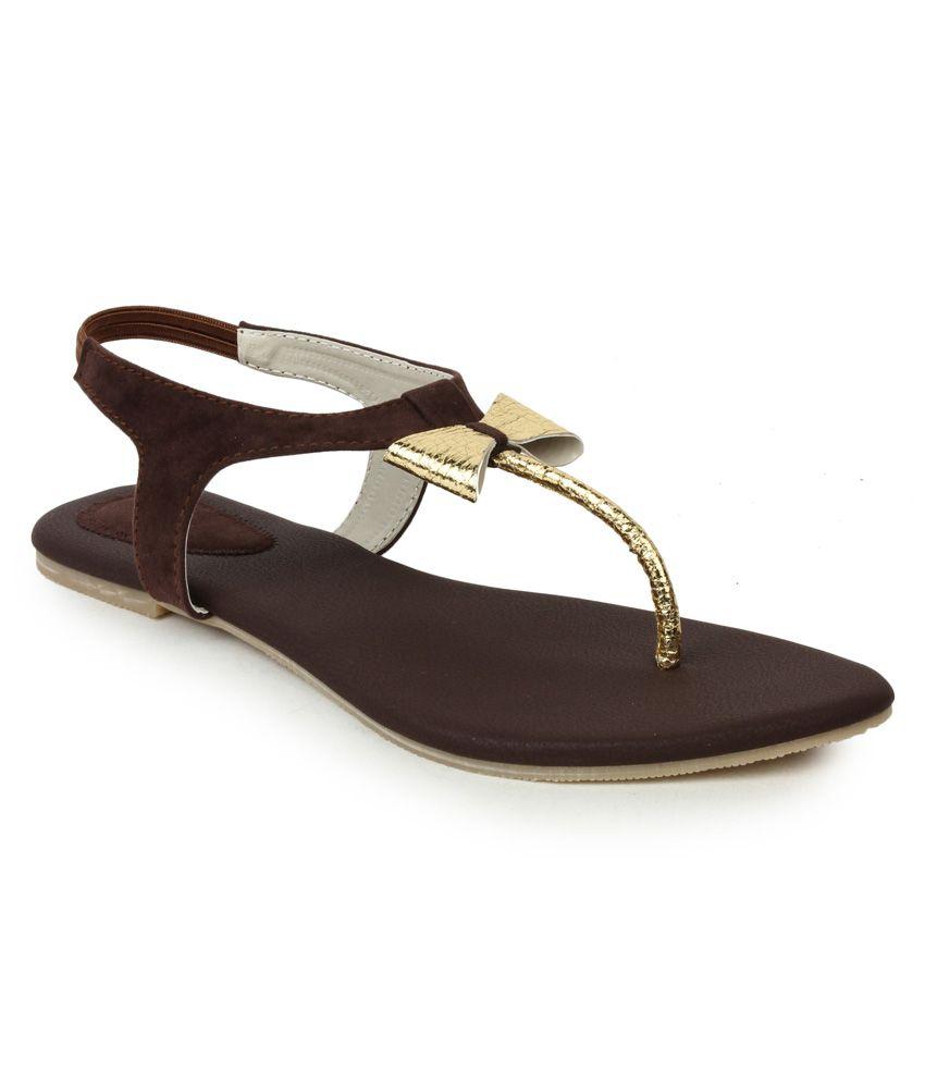 Aris Mart Brown Suede Open Toe T-strap Partwear Women Sandals