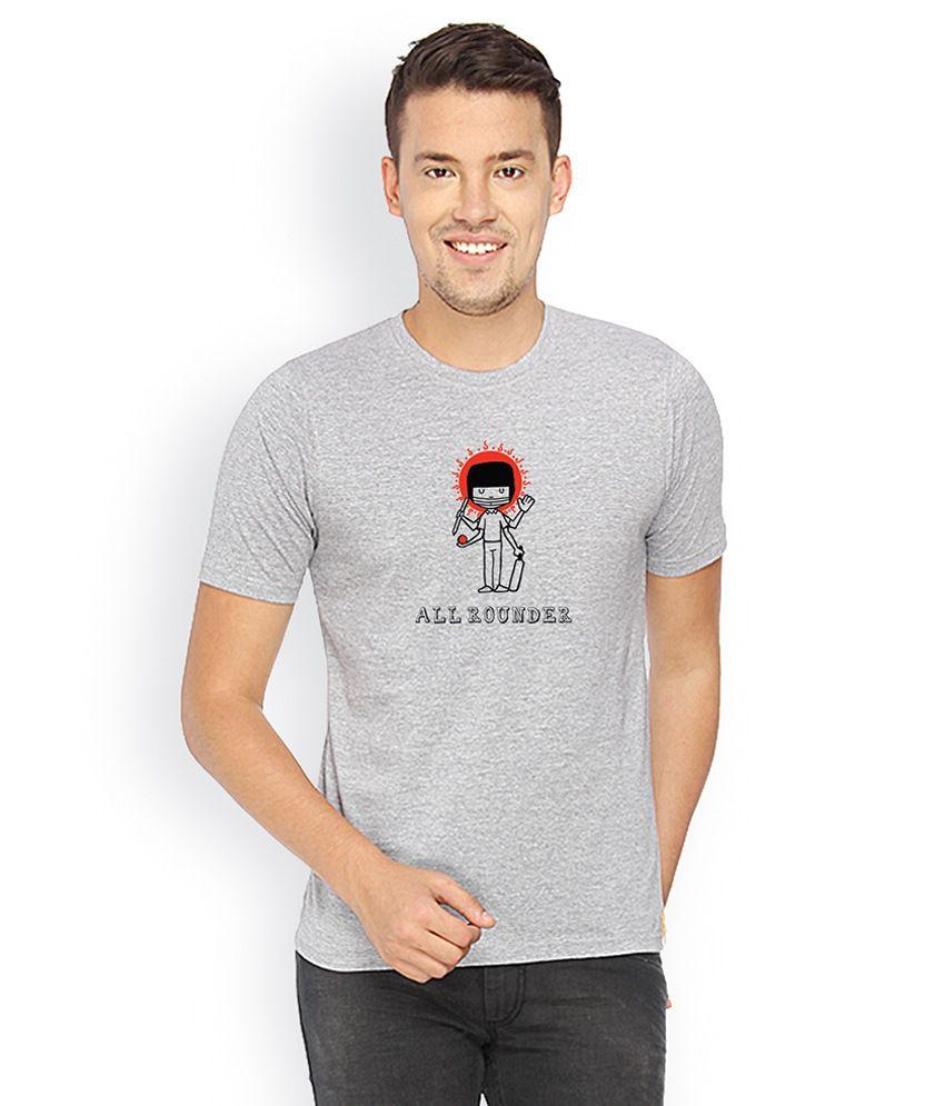 Campus Sutra Grey Round Neck Tshirt Allrounder