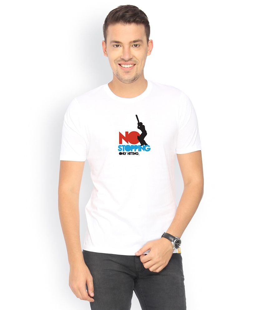 Campus Sutra White Round Neck Tshirt No Stopping