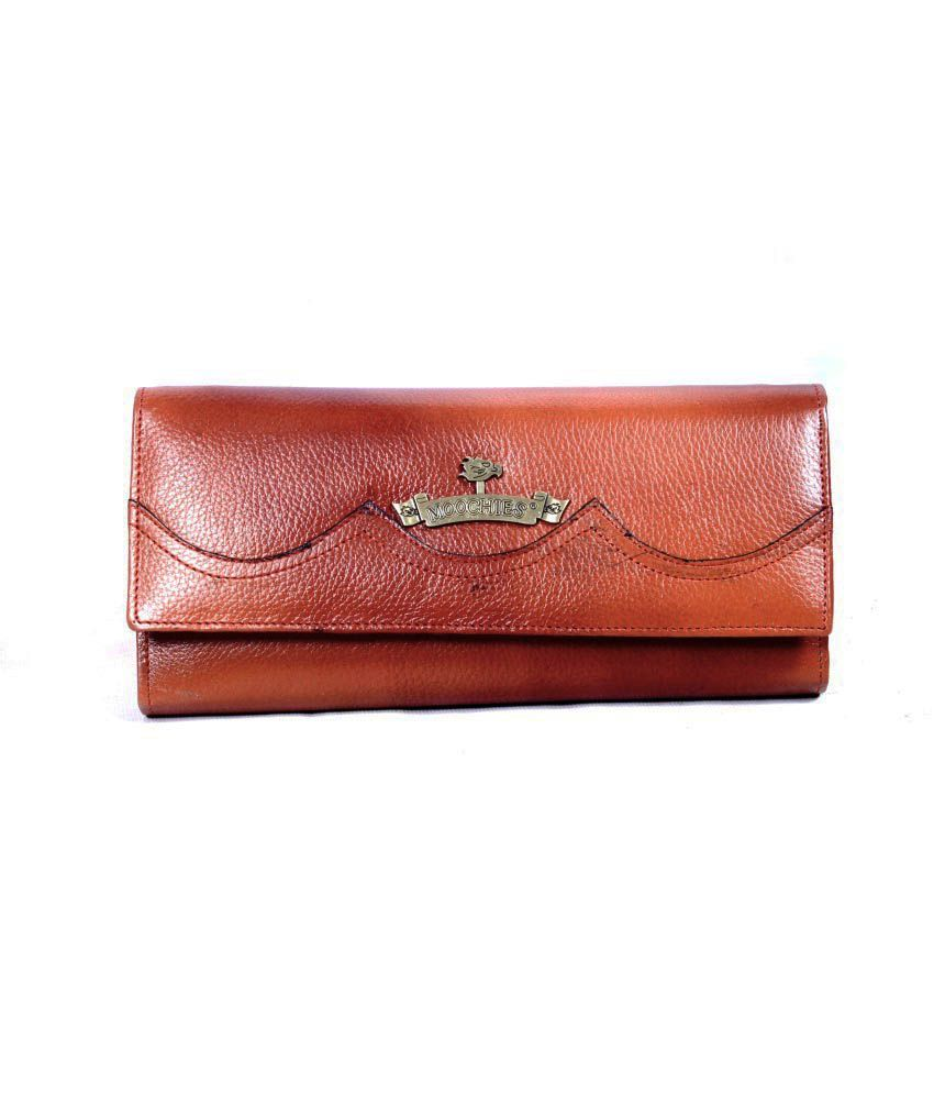 Moochies Tan Leather Wallet For Women