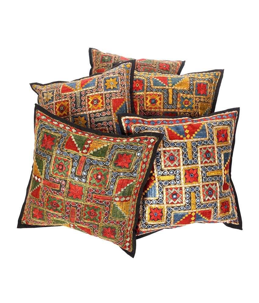 Rajrang  Designer Gujarati Mirror Work Cushion Covers - (16 X 16 Inches) (Set of 5 Pcs)