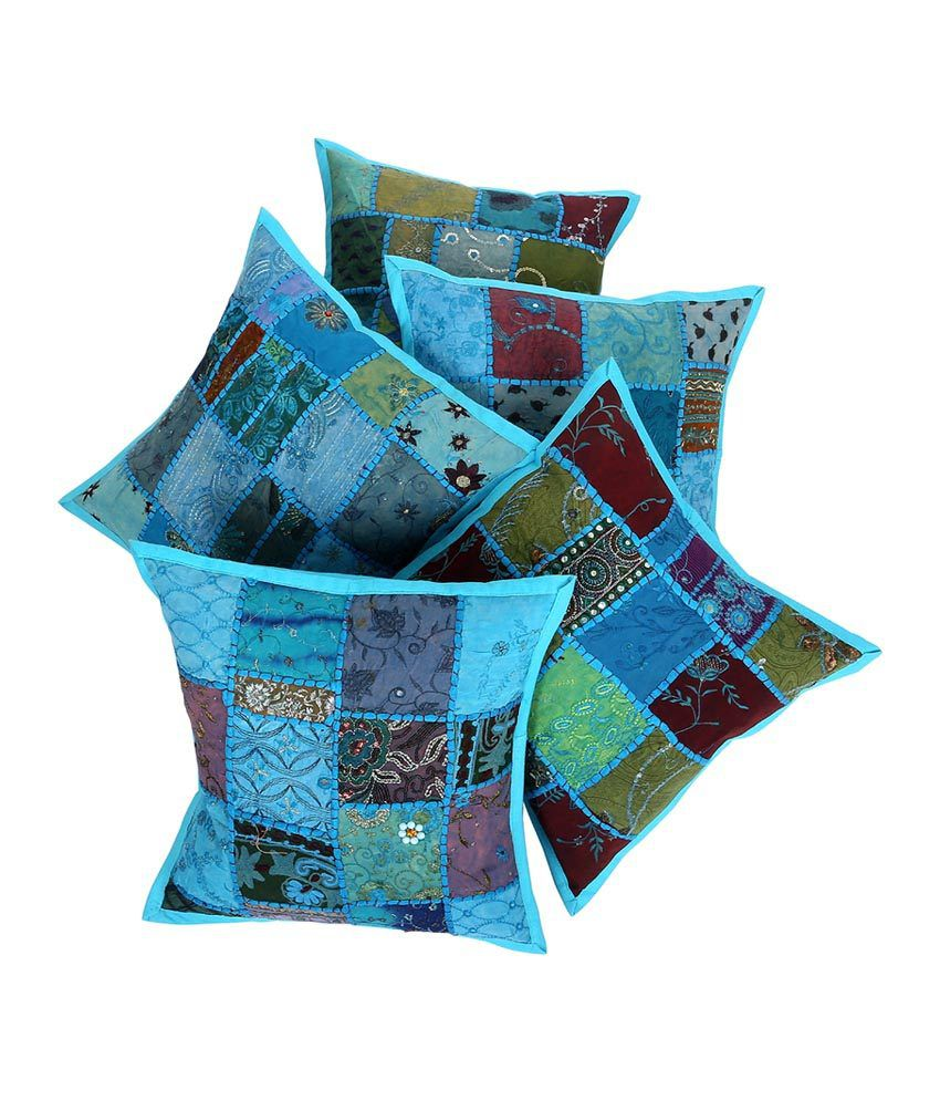 Rajrang  Khambadi Patch Cushion Covers - (16 X 16 Inches) (Set of 5 Pcs)
