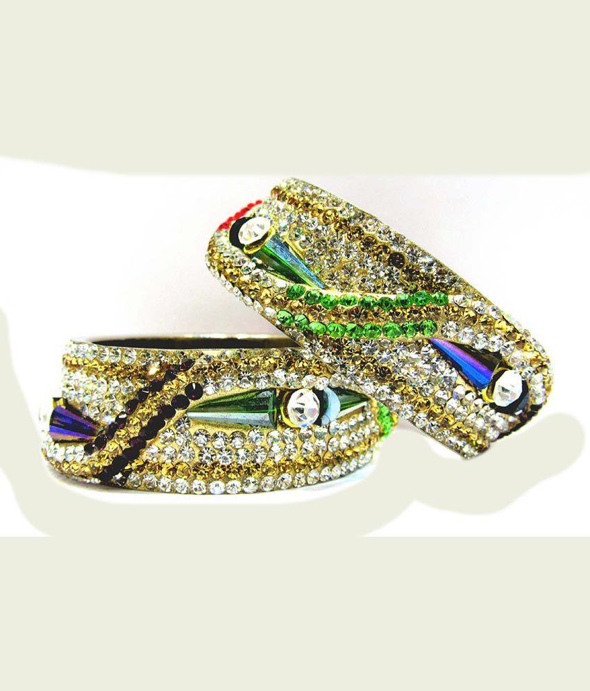 Rajrani Multicolor Crystal Designer Bangles