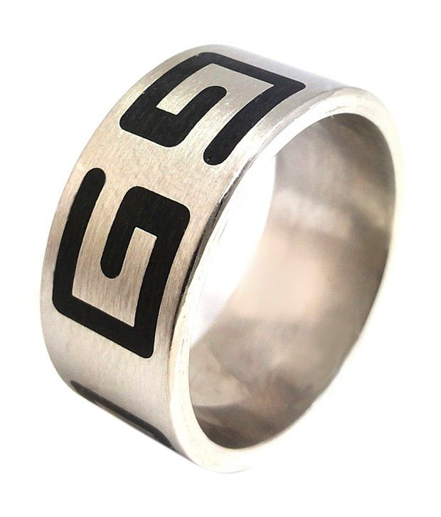 Ammvi Creations 316L Stainless Steel Alloy Greek Symbol Thick Band Ring For Men