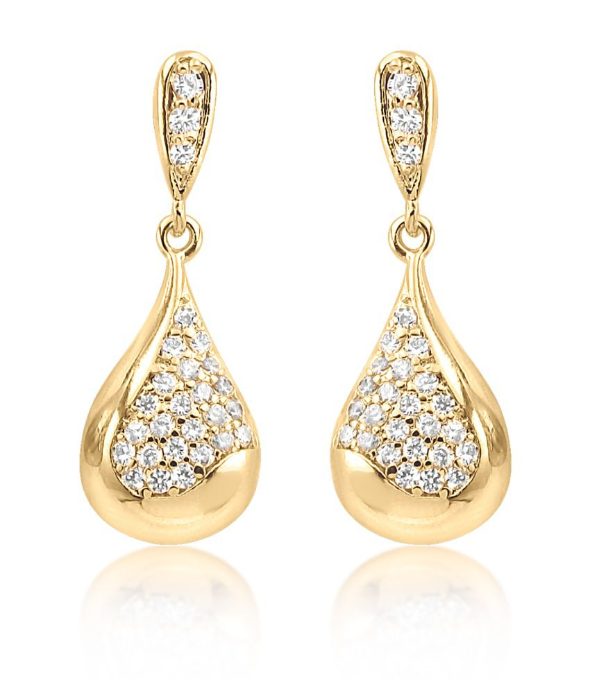Big Tree 18k Gold Plated Abstract Cz Diamond Earrings For Women