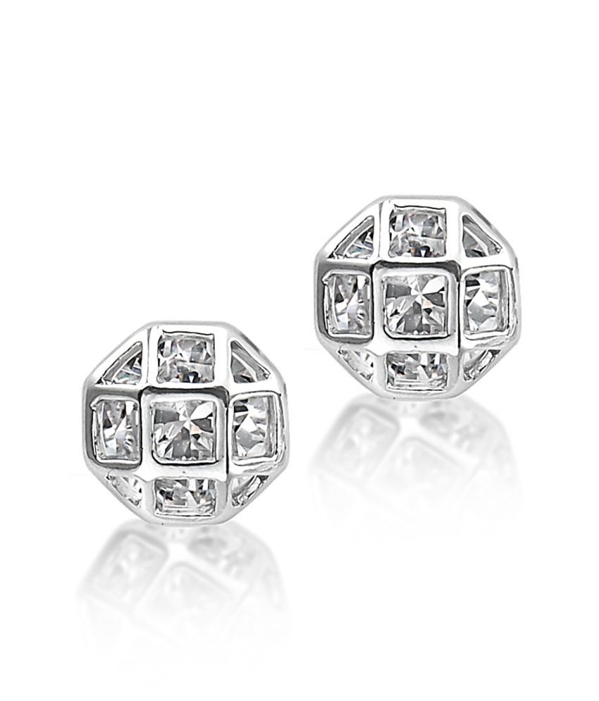 Big Tree 18k White Gold Plated Silver Cz Diamond Cage Earring For Women