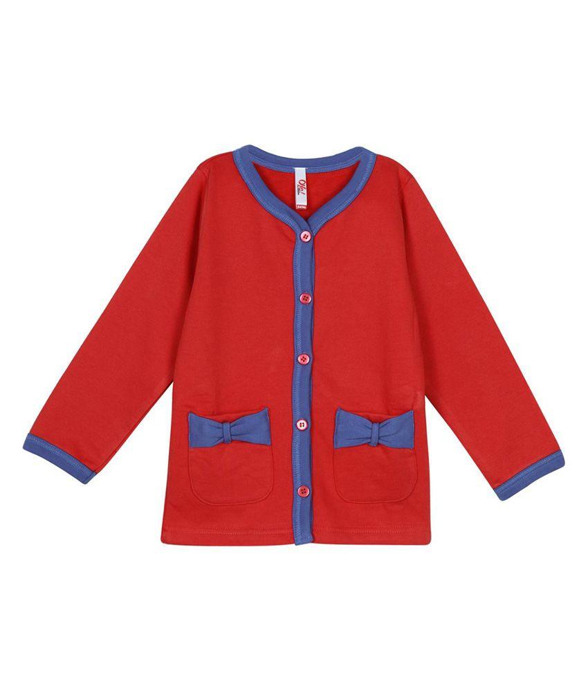 Oye Cotton Front Open Sweatshirt - Red