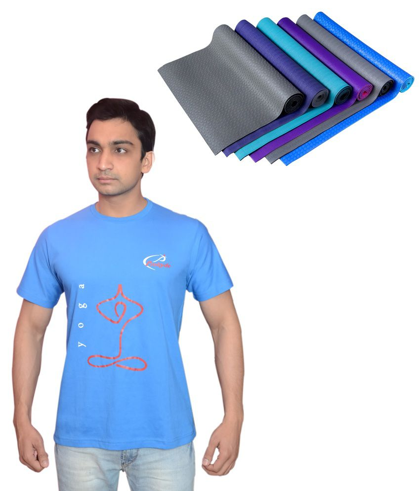 Prokyde Yoga Blue T-shirt And Special Mat Special- Xl Size Combo