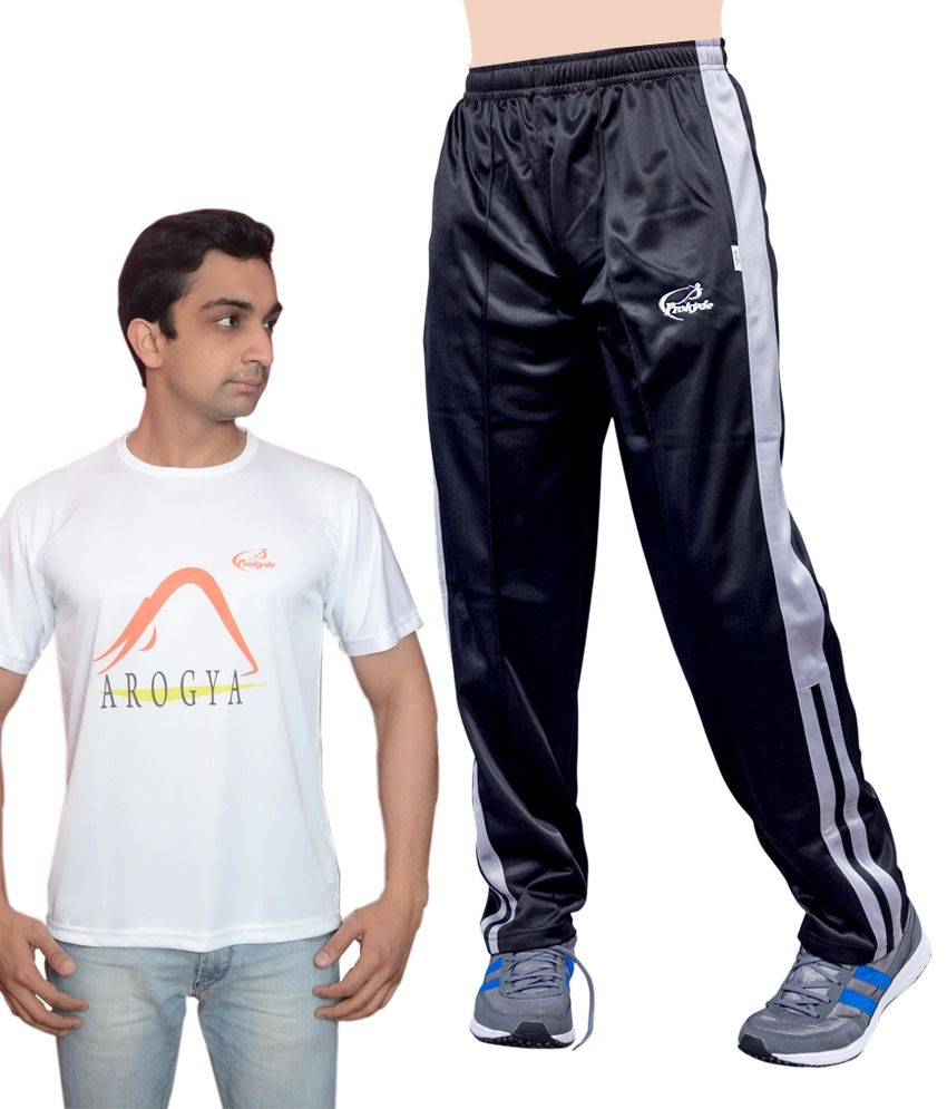 Prokyde Yoga Super Special Combo White T-shirt And Black Trackpant