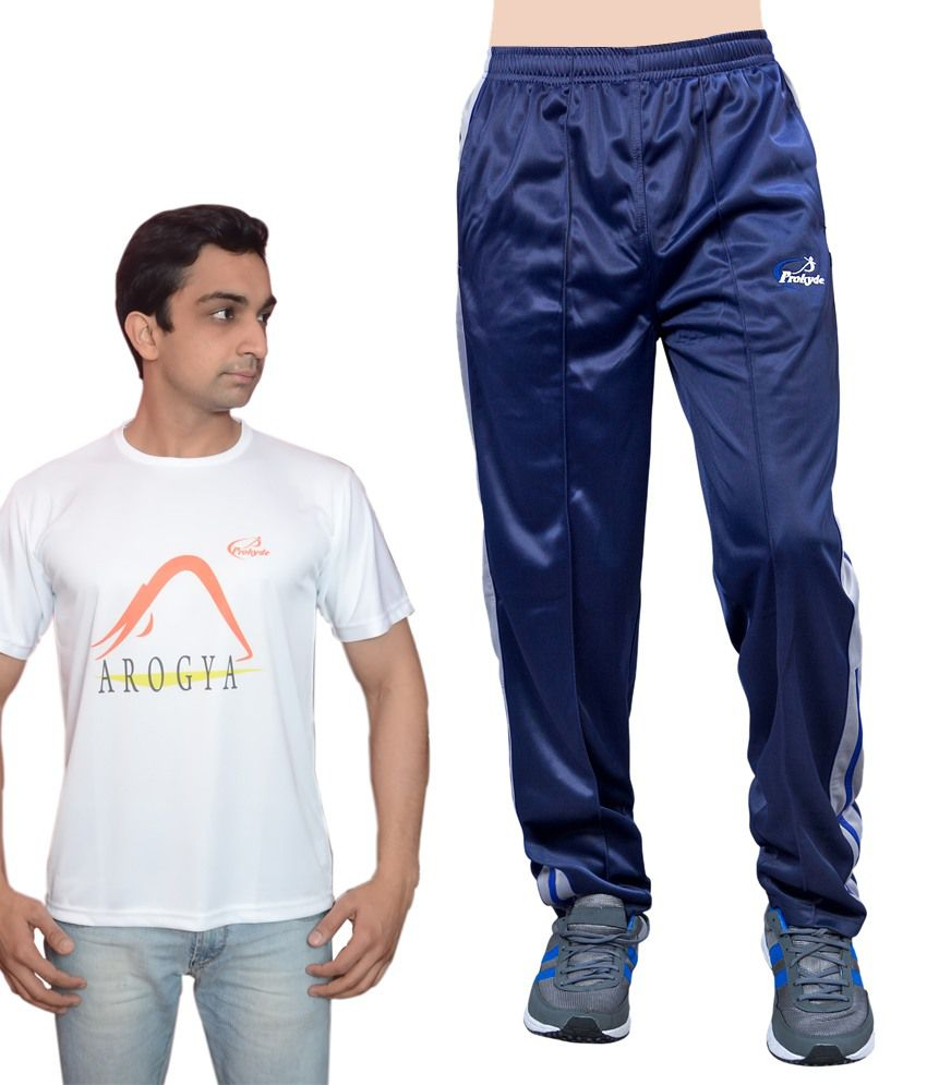 Prokyde Yoga Super Combo White T-shirt And Navy Blue Trackpant