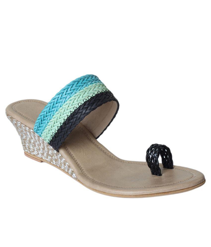 Tycoon Blue Asha Style Wedge Heeled Slip-on