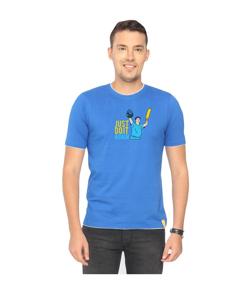 Campus Sutra Blue Just Do It Again T-shirt