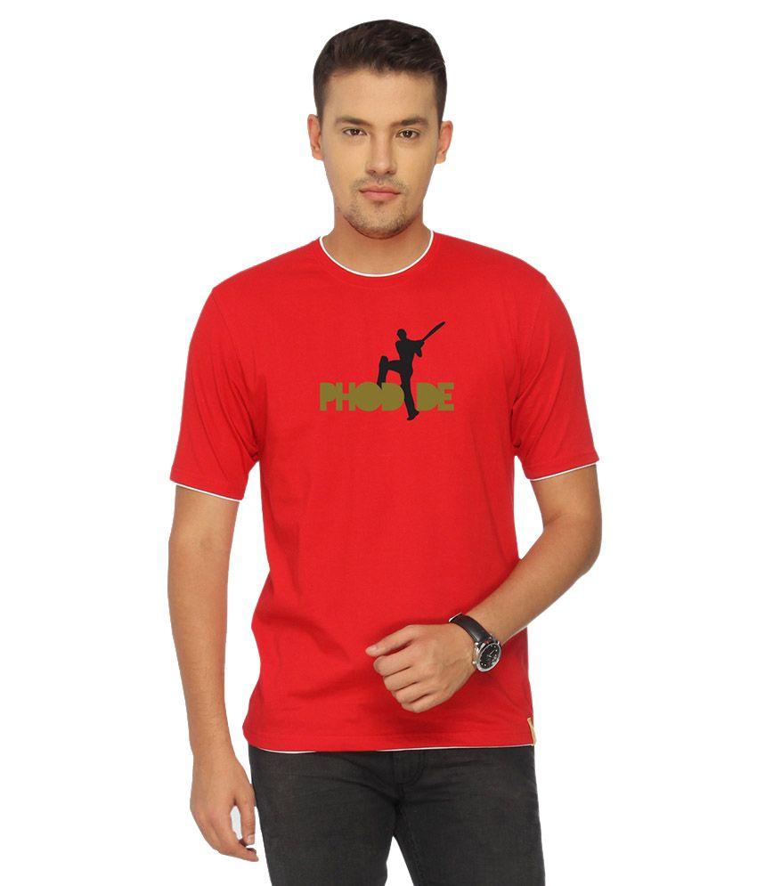 Campus Sutra Red Phod De T-shirt
