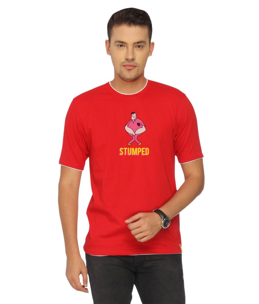 Campus Sutra Red Stumped T-shirt