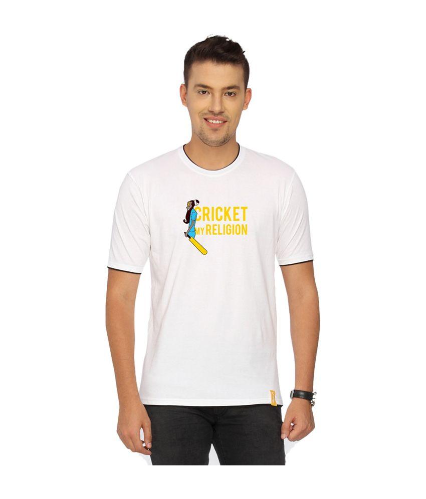 Campus Sutra White Cricket My Religion T-shirt