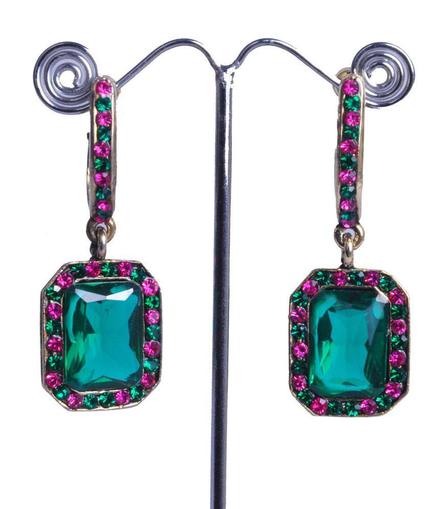 DyMate Green Alloy Style Diva Designer Hangings Earrings