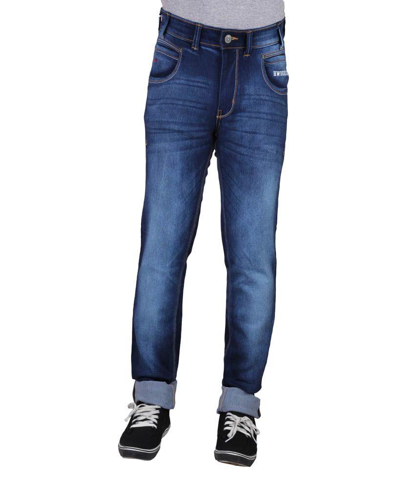 Hw Men's Non Stretch Regular Fit Denim Jeans - Blue
