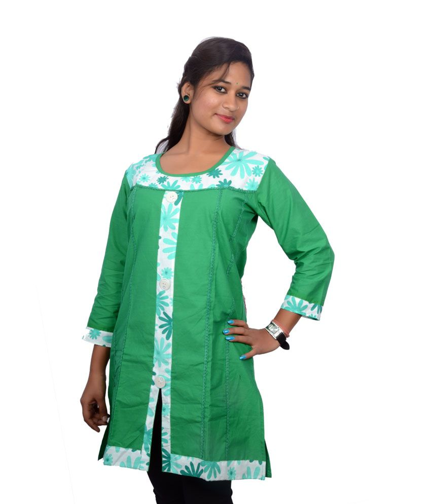 Modrich Green Printed Cotton 3/4th Sleeves Round Neck Medium Kurti