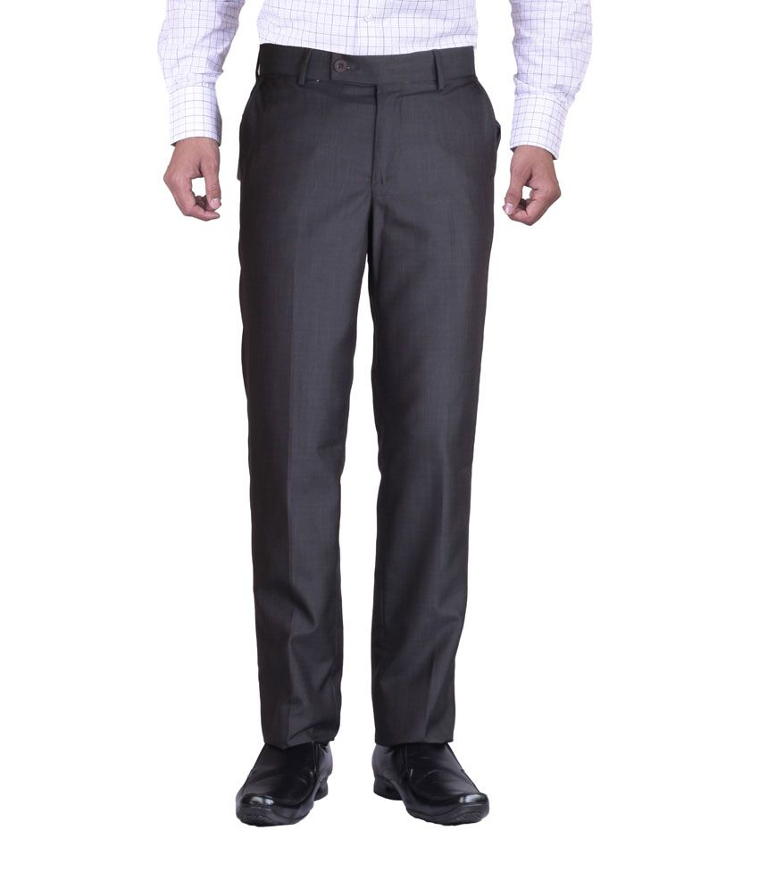 Promo Land Black Cotton Slim Fit Flat Formal Trouser