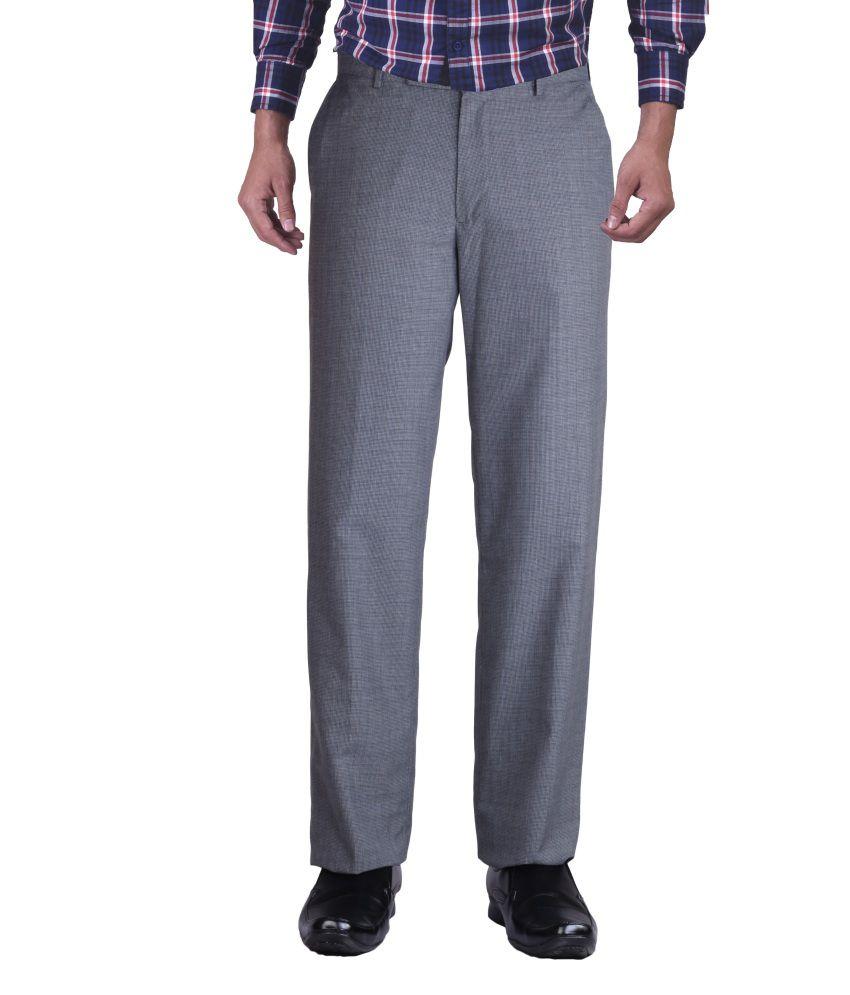 Promo Land Gray Cotton Men's Formal Trouser