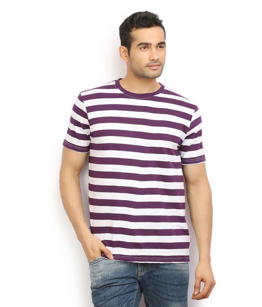 Ethane Mens White & Purple Crew Neck T Shirt