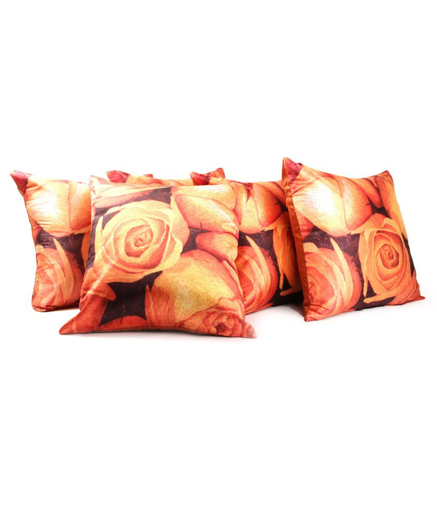 Home Candy Orange Floral Polyester Cushion Cover (set Of 5)