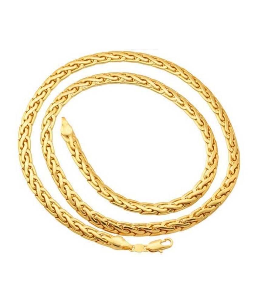 Magic Stones Men's 18kt Gold And Platinum Coated Chain For Men