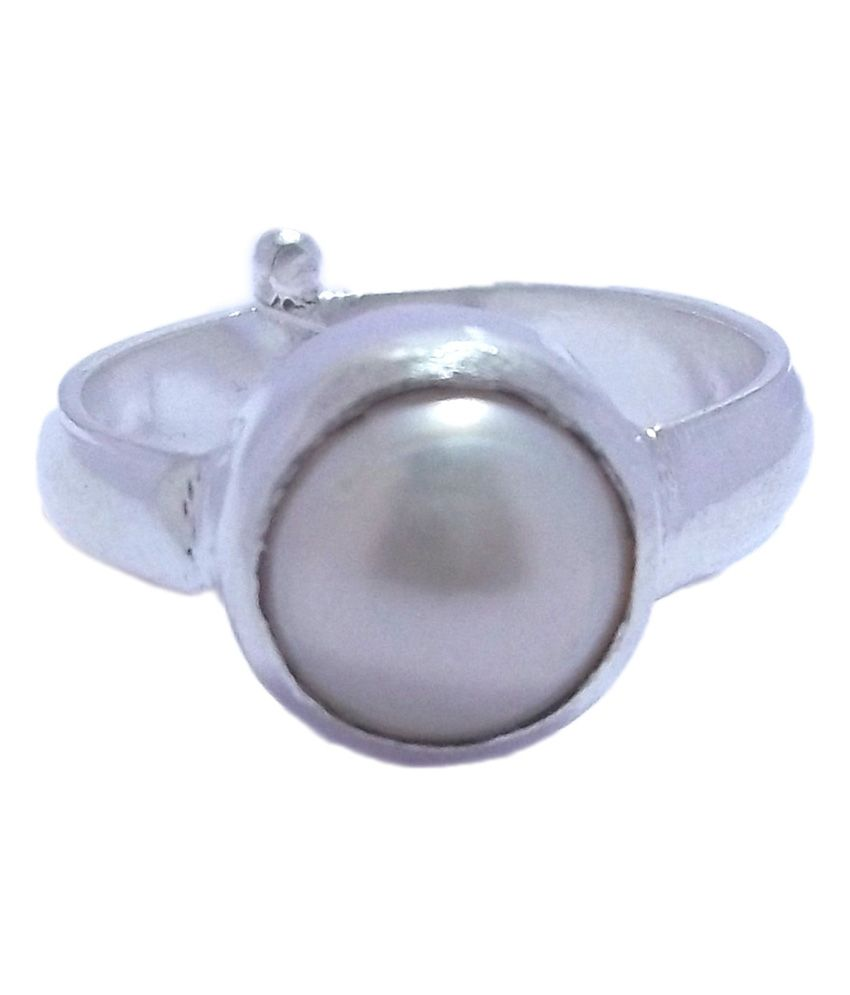 RS JEWELLERS Panch Dhatu Coloured Stone Pearl Ring