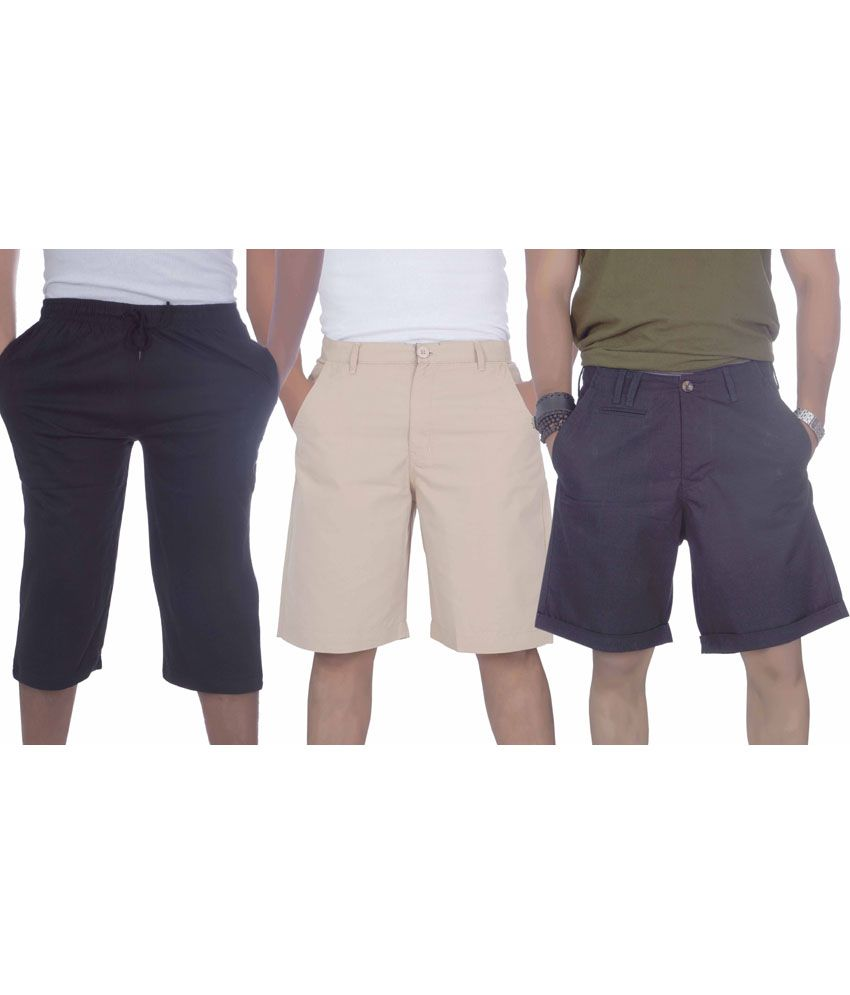 S A True Fashion Multicolour Cotton Solids Men Short And Three Forth Combo Of 3