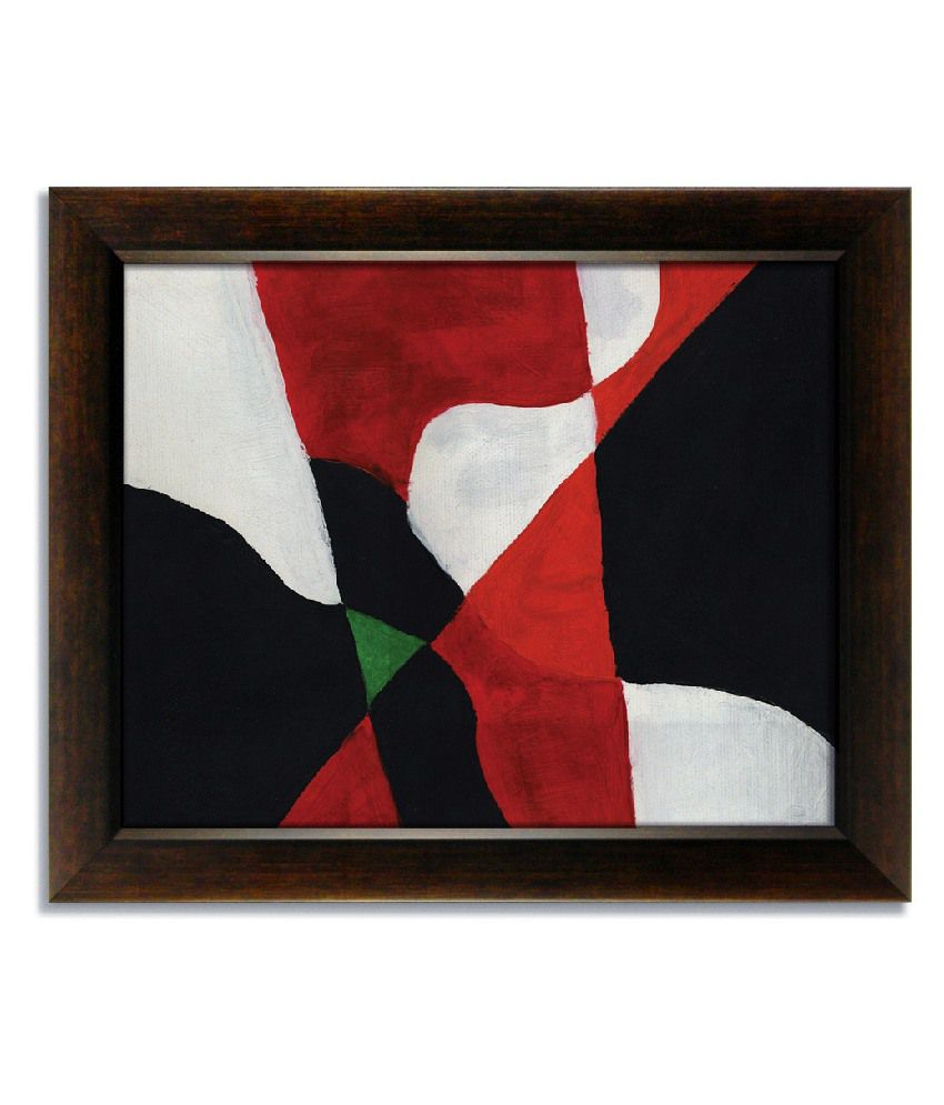 Stybuzz Black And Red Modern Frameless Canvas Painting