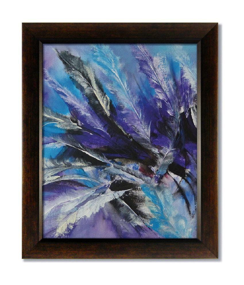 Stybuzz Blue Strokes Frameless Canvas Painting