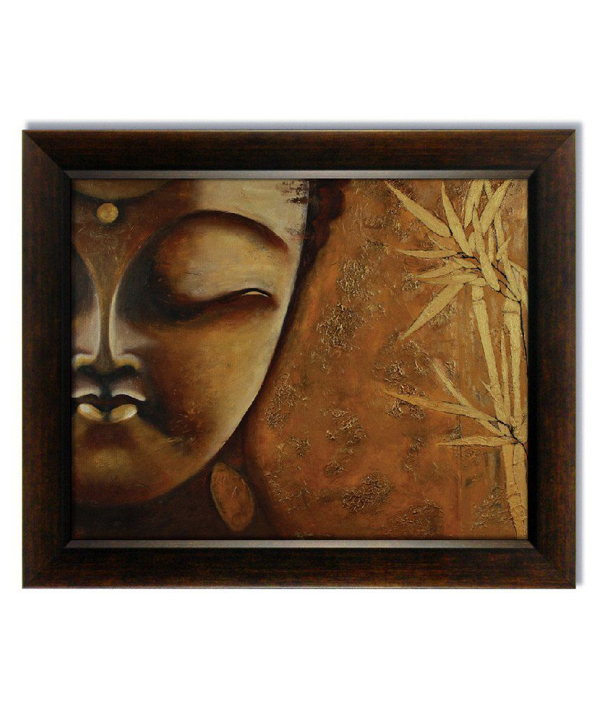 Stybuzz Brown Lord Buddha Face Frameless Canvas Painting