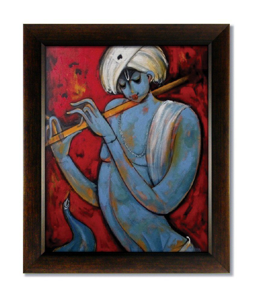 Stybuzz Lord Krishna With Flute Modern Frameless Canvas Painting