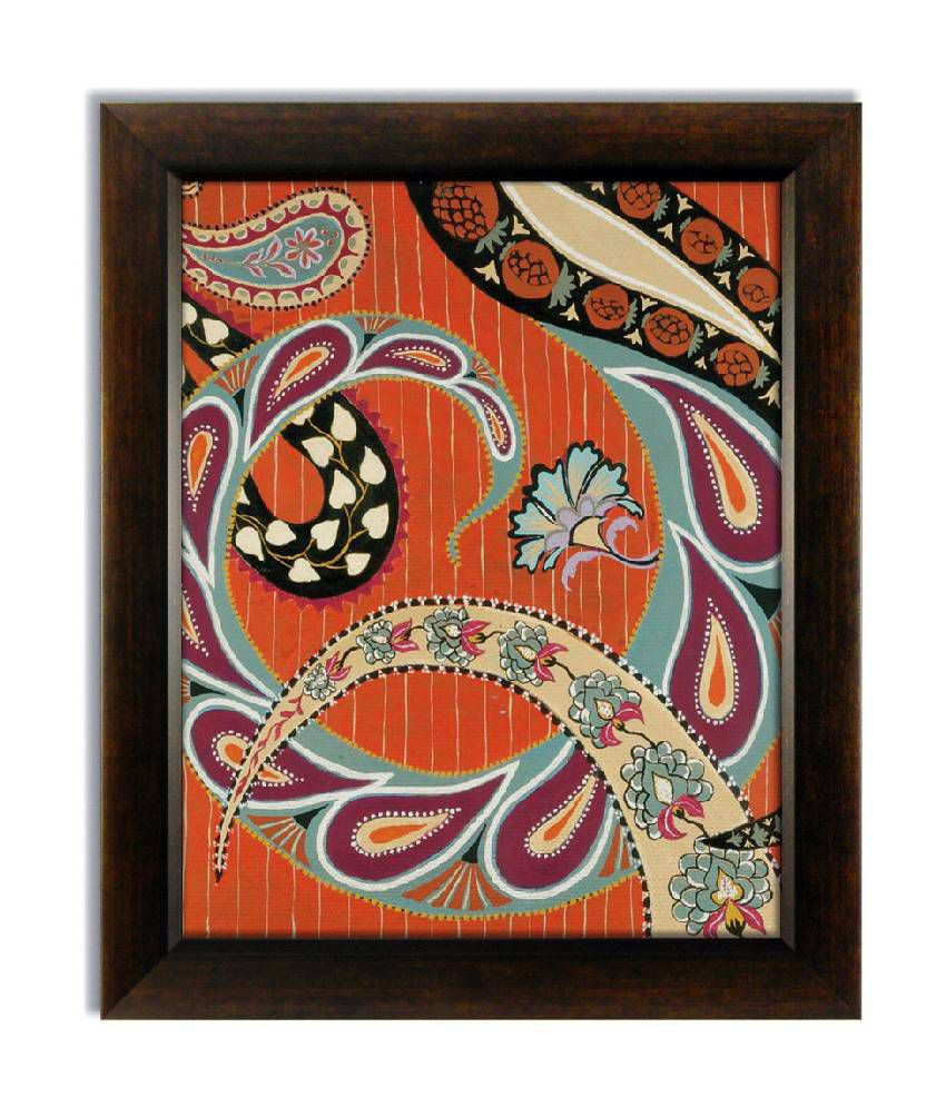 Stybuzz Orange Ethnic Frameless Canvas Painting