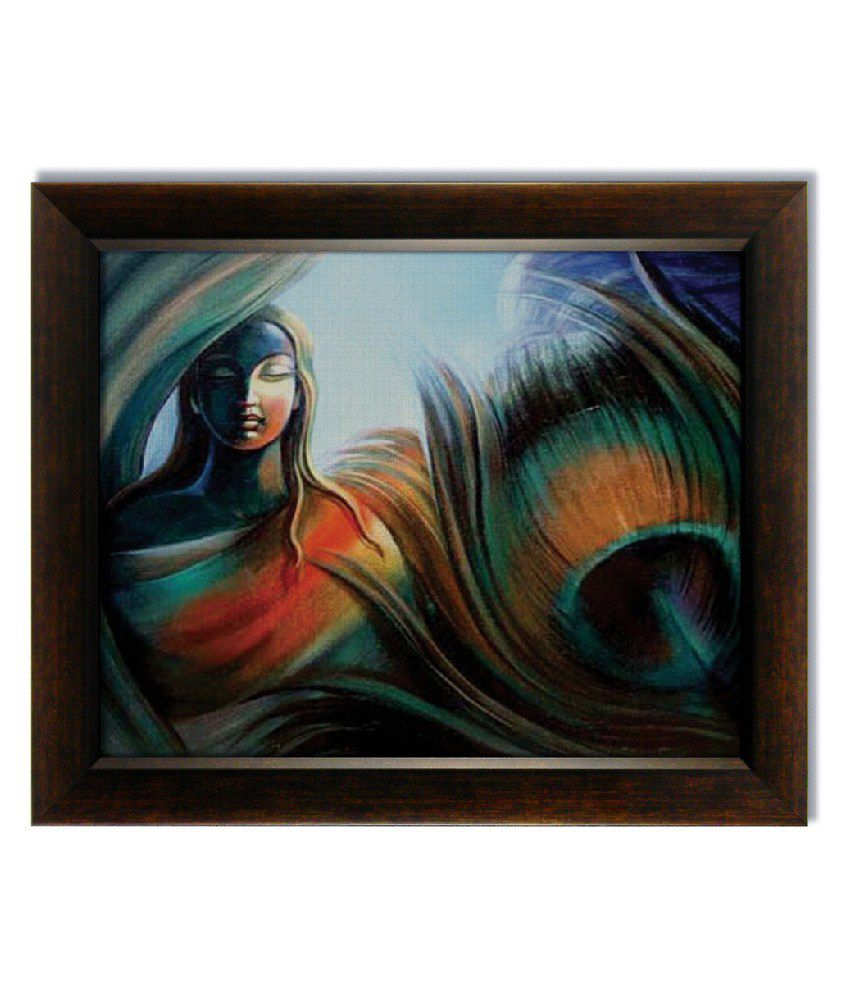 Stybuzz Peacock Feather And Woman Frameless Canvas Painting