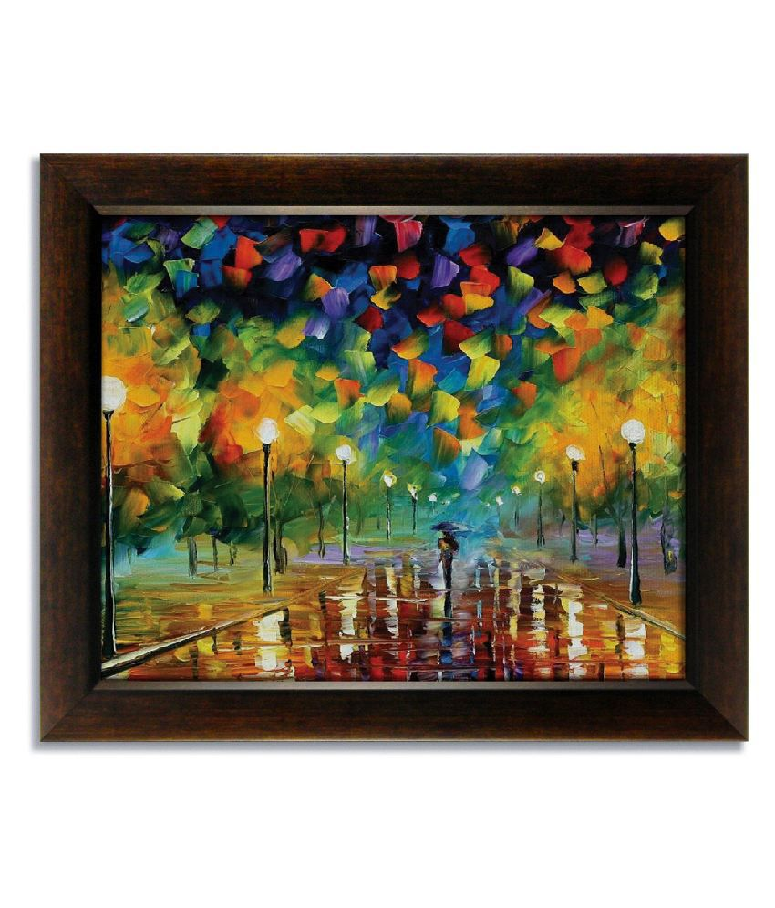 Stybuzz Walking On Road In Rain Frameless Canvas Painting