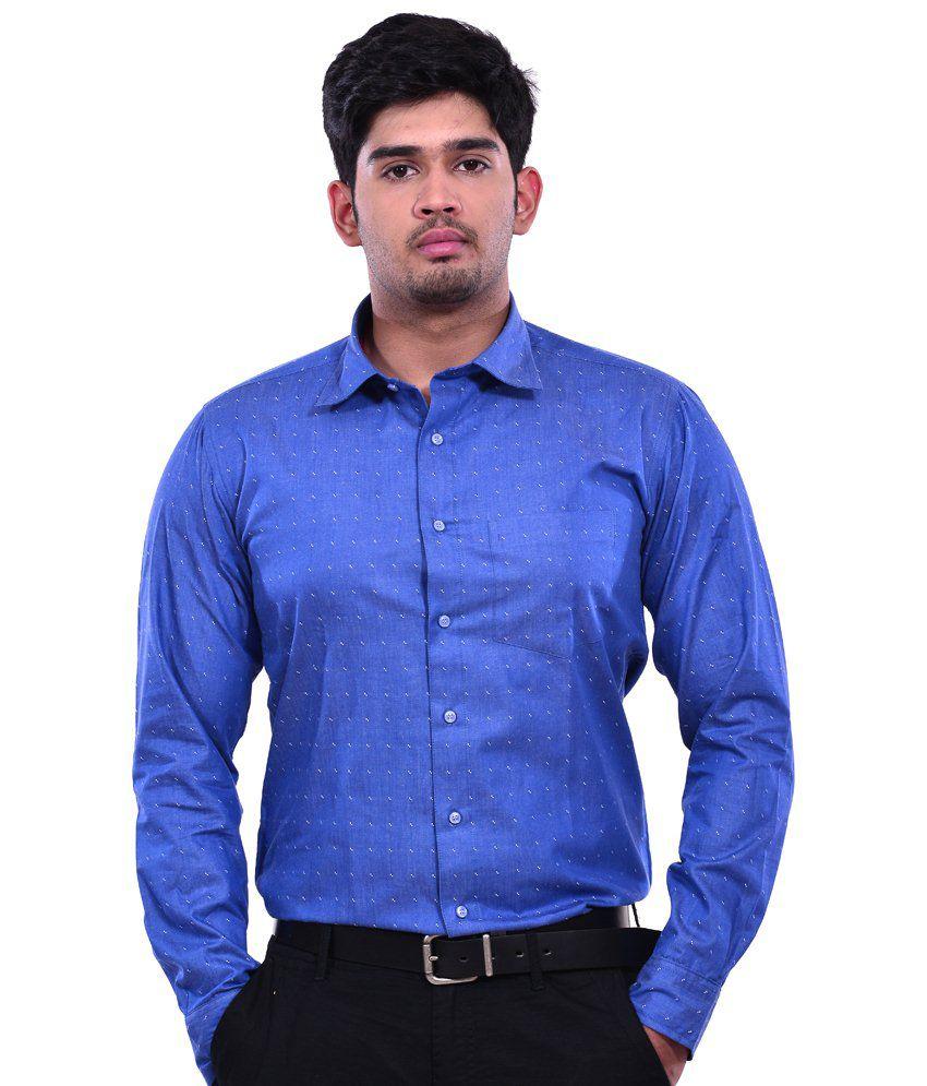 Dennison Metallic Black Denim Print Men's Casual Slim Fit Shirt