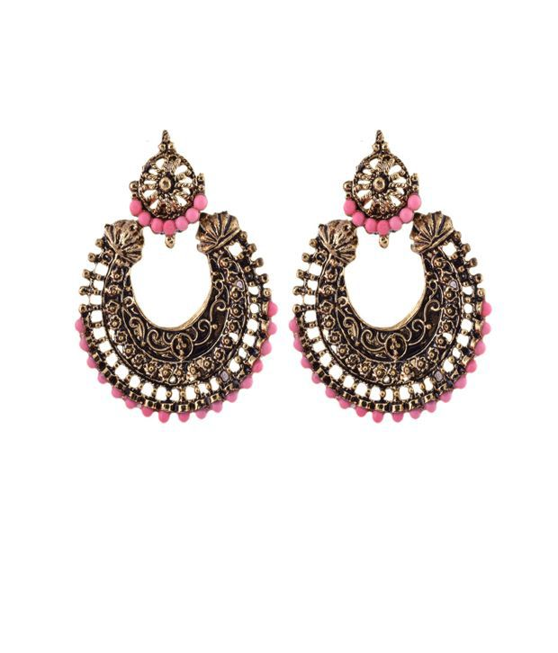 Ganapathy Gems Oxodised Brass Chand Bali With Pink Drops And Stud