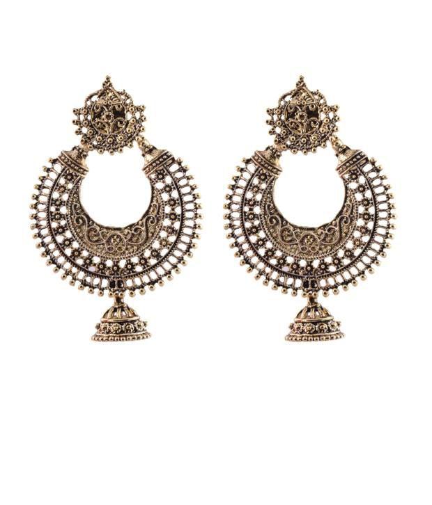 Ganapathy Gems Oxodised Silver Chand Bali With Stuid And Jhumka Drop