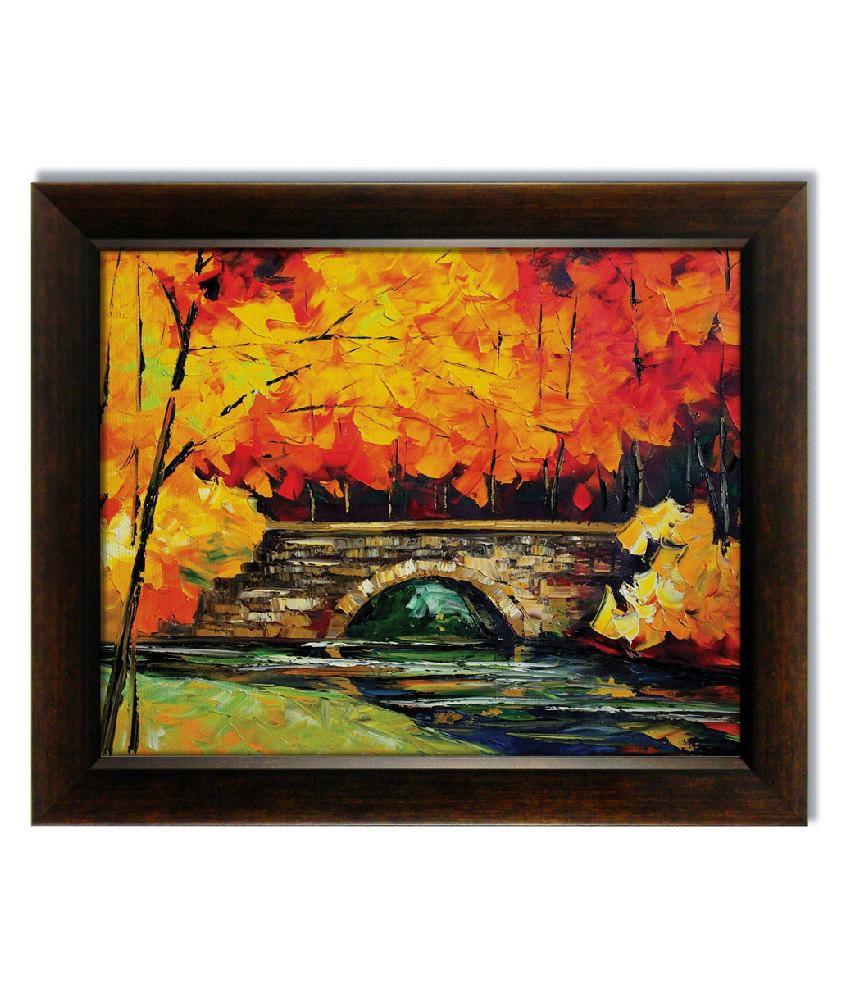 Stybuzz Autumn Tree Over Bridge Frameless Canvas Painting