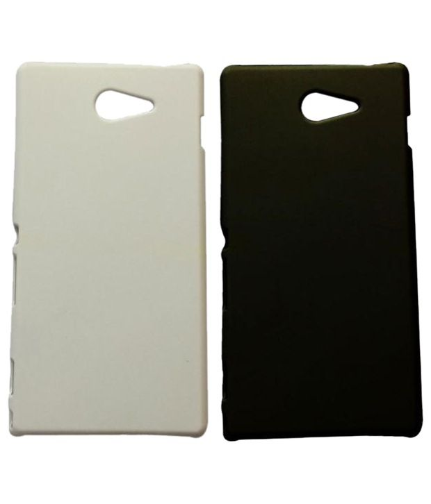 Winsome Deal White & Black Sony Xperia M2 Plastic Back Cover Pack Of 2
