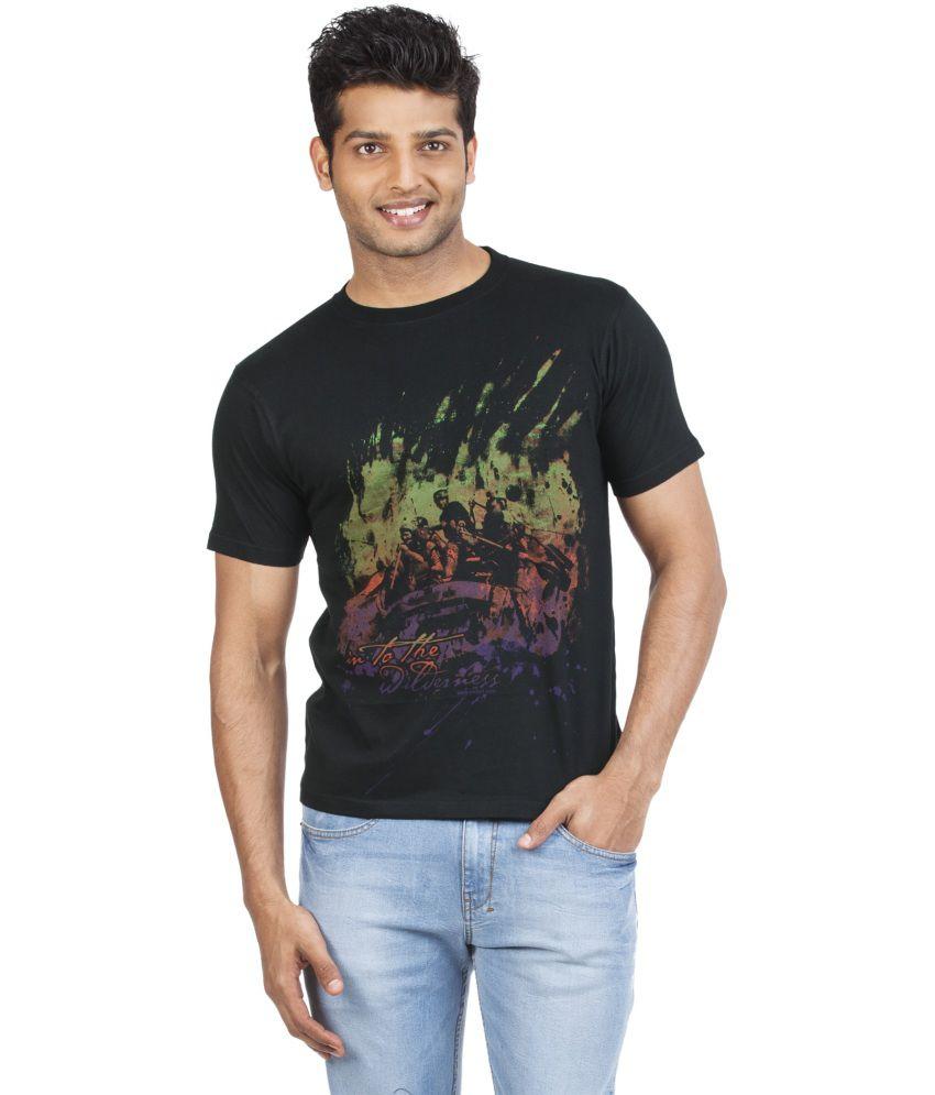 Zovi Black Cotton Round Neck Half Sleeves T-shirt
