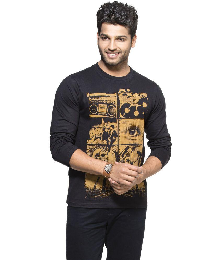 Zovi Black Cotton Round Neck Full Sleeves T-shirt