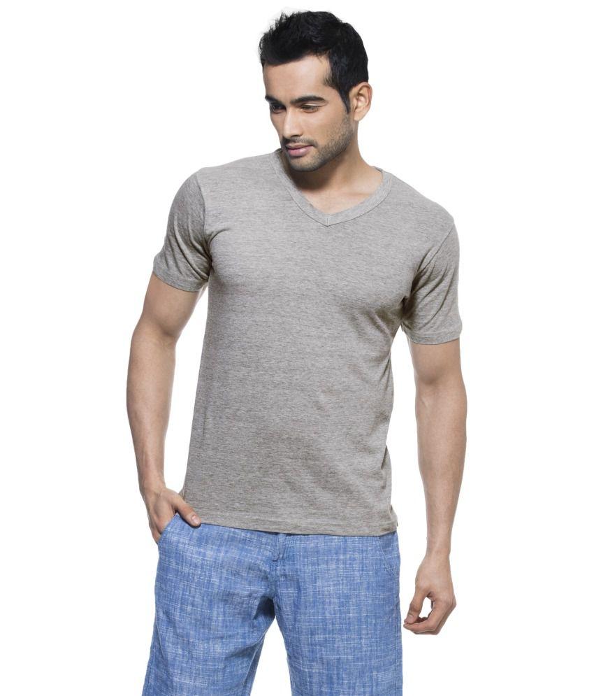 Zovi Gray Cotton V-neck Half Sleeves T-shirt