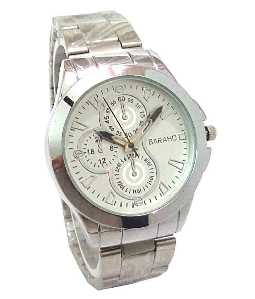 13c34a1b43f Baraho Silver Wrist Watch For Men - Buy Baraho Silver Wrist Watch For Men  Online at Best Prices in India on Snapdeal
