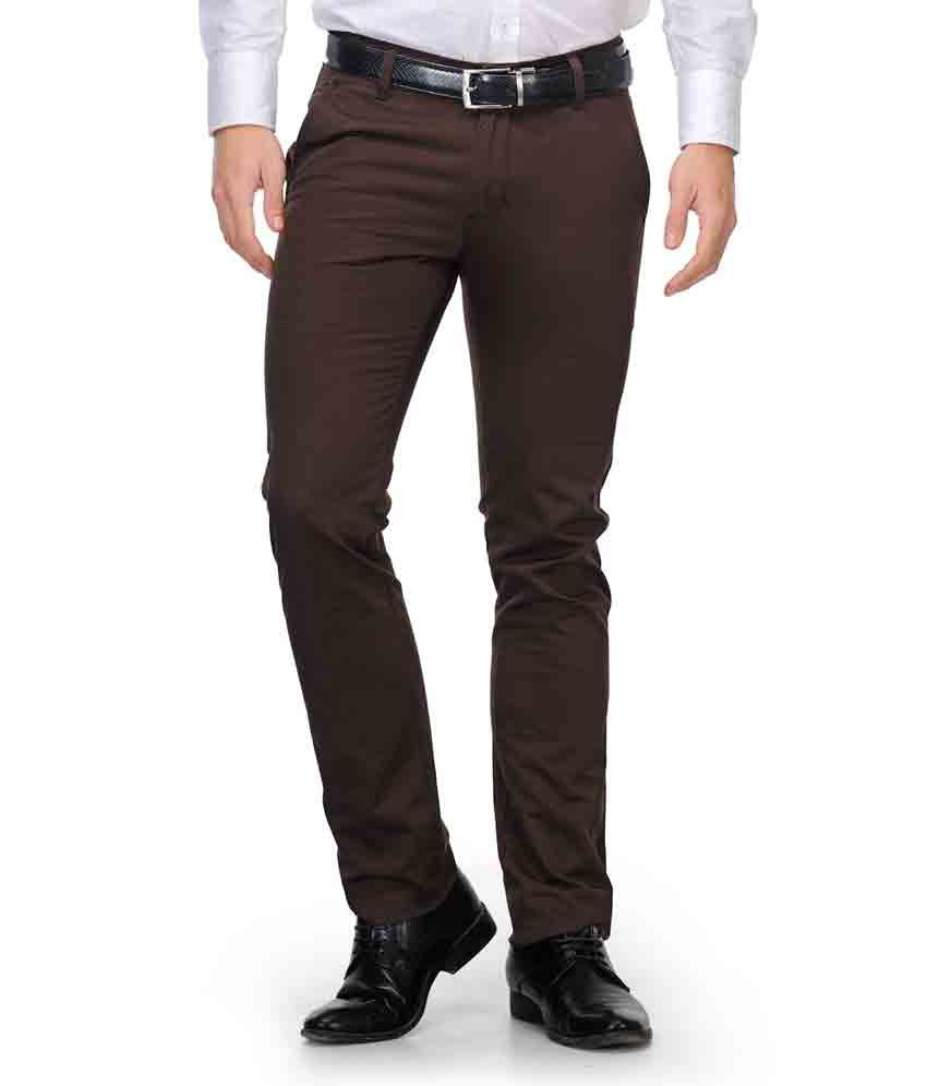 Fever Brown Cotton Casual Trouses For Men