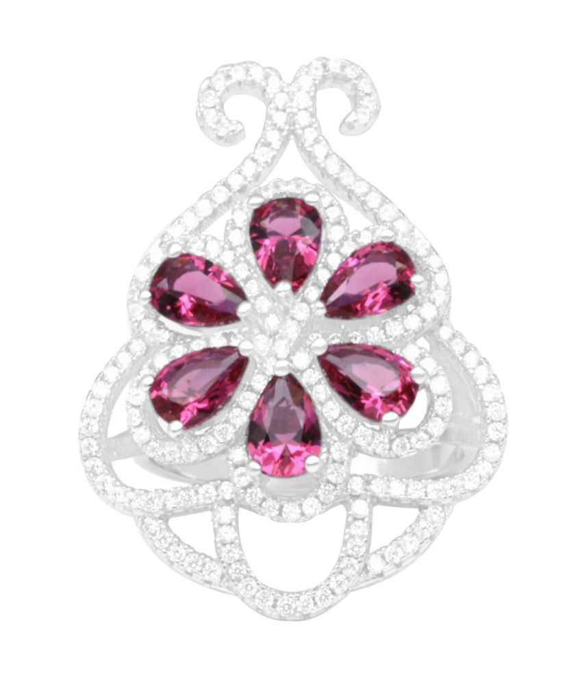 Gemtogems Sterling Silver Simulated Diamonds And Rubies Decorative Mirror Cluster Ring